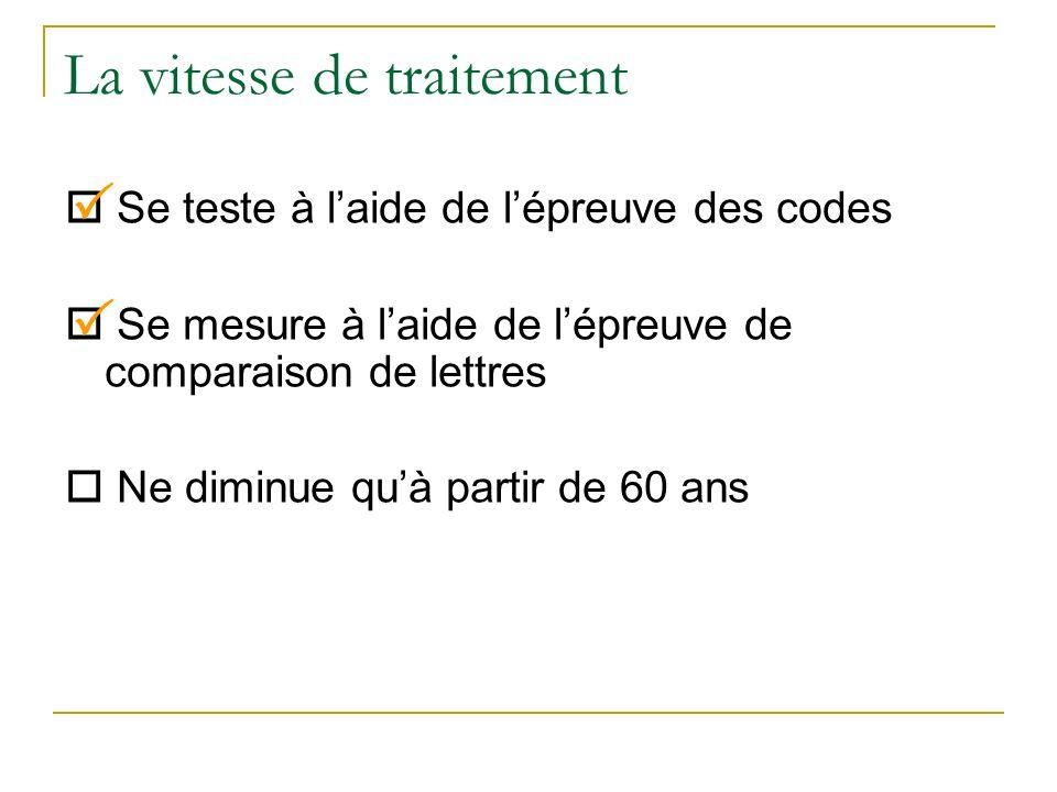 La vitesse de traitement Se teste à laide de lépreuve des codes Se mesure à laide de lépreuve de comparaison de lettres Ne diminue quà partir de 60 an