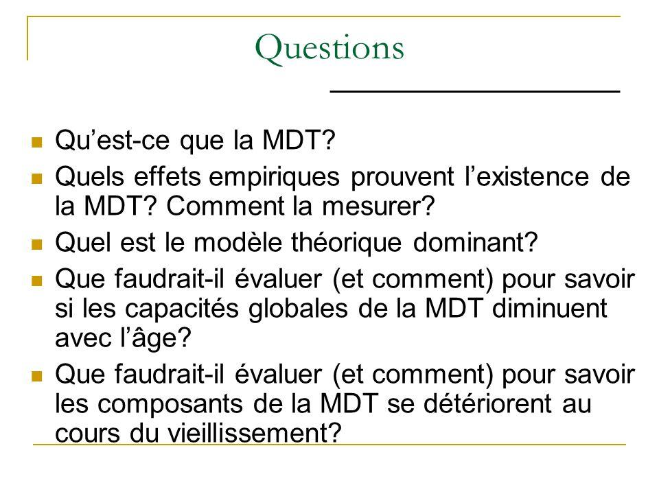 Questions Quest-ce que la MDT? Quels effets empiriques prouvent lexistence de la MDT? Comment la mesurer? Quel est le modèle théorique dominant? Que f