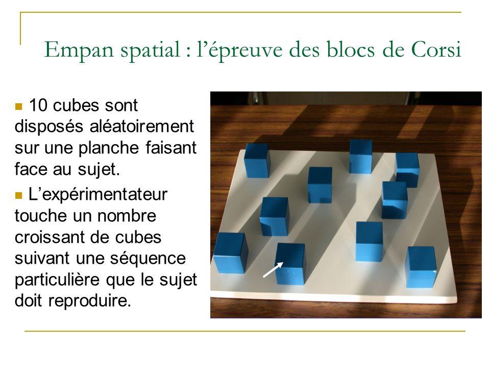 Empan spatial : lépreuve des blocs de Corsi 10 cubes sont disposés aléatoirement sur une planche faisant face au sujet. Lexpérimentateur touche un nom