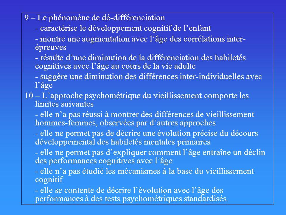 Phénomène de dé-différenciation Baltes & Lindenberger, 1997