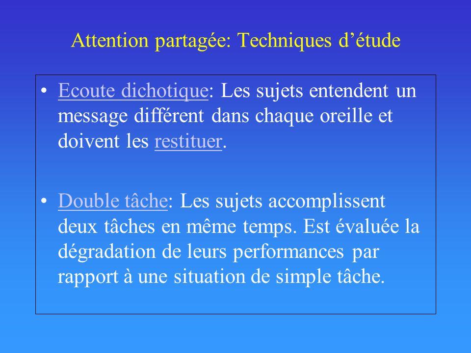 Attention partagée: Techniques détude Ecoute dichotique: Les sujets entendent un message différent dans chaque oreille et doivent les restituer.Ecoute