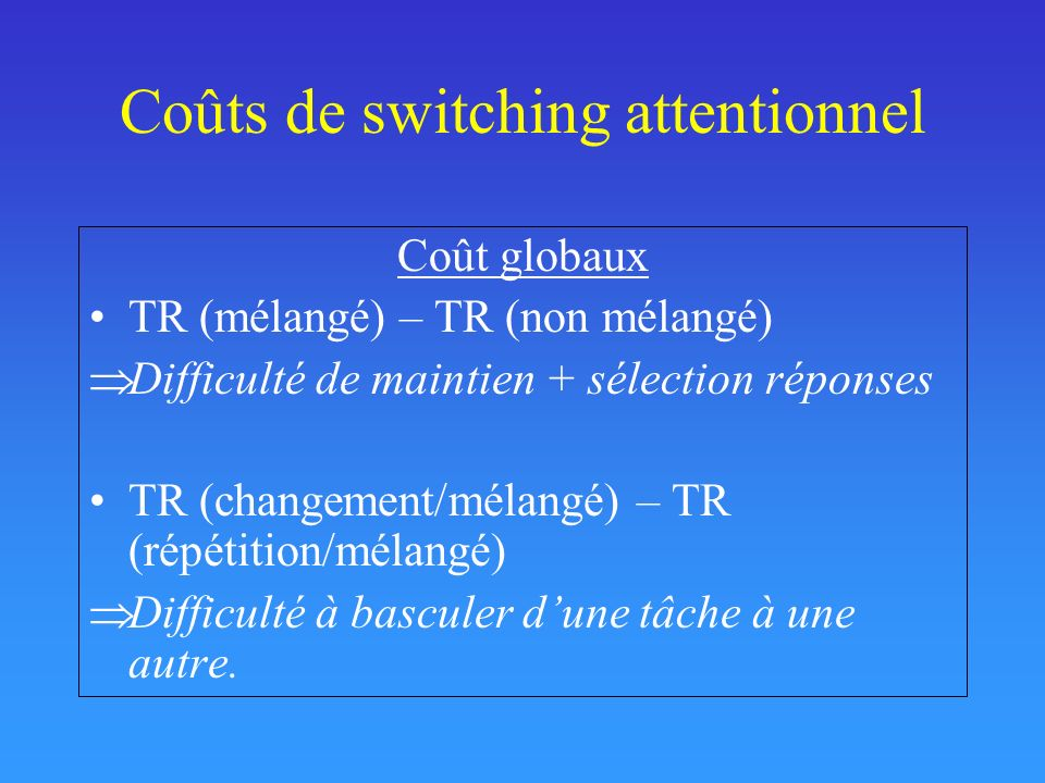 Coûts de switching attentionnel Coût globaux TR (mélangé) – TR (non mélangé) Difficulté de maintien + sélection réponses TR (changement/mélangé) – TR