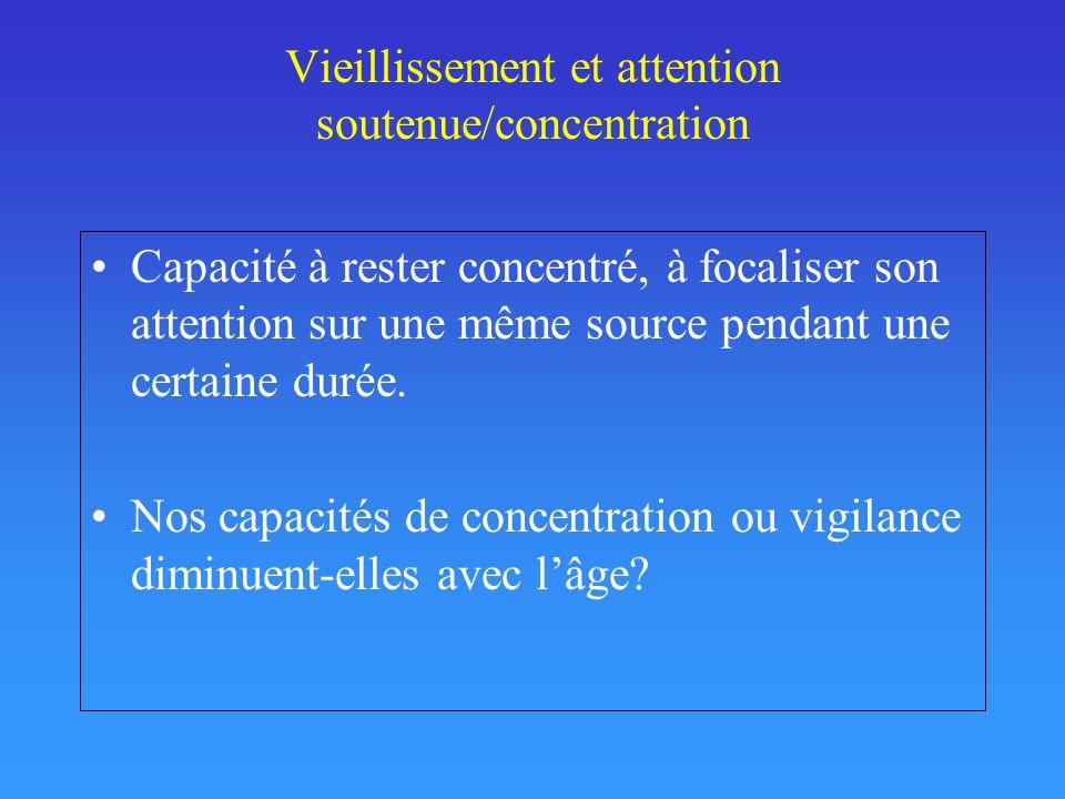 Vieillissement et attention soutenue/concentration Capacité à rester concentré, à focaliser son attention sur une même source pendant une certaine dur