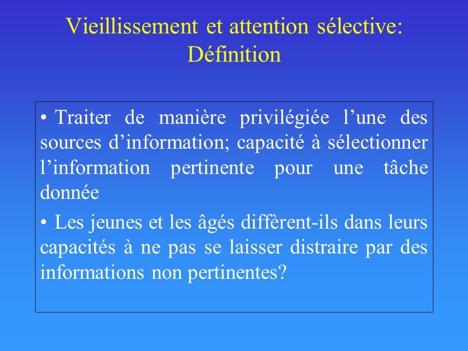 Vieillissement et attention sélective: Définition Traiter de manière privilégiée lune des sources dinformation; capacité à sélectionner linformation p
