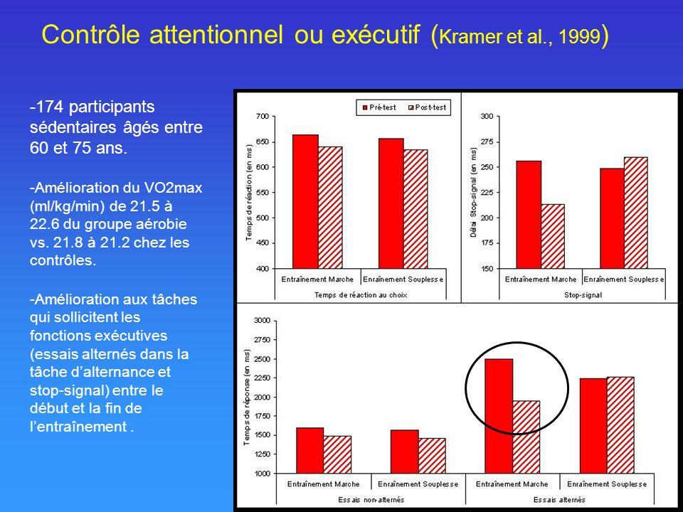 Contrôle attentionnel ou exécutif ( Kramer et al., 1999 ) -174 participants sédentaires âgés entre 60 et 75 ans. -Amélioration du VO2max (ml/kg/min) d