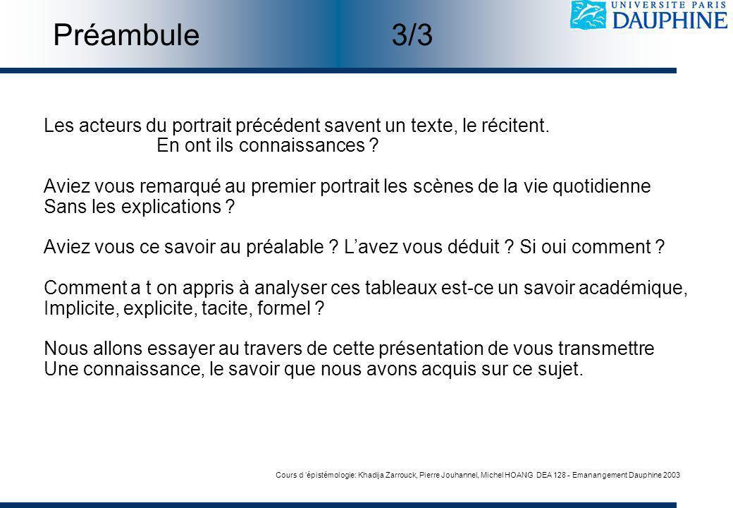 Cours d épistémologie: Khadija Zarrouck, Pierre Jouhannel, Michel HOANG DEA 128 - Emanangement Dauphine 2003 Les acteurs du portrait précédent savent un texte, le récitent.