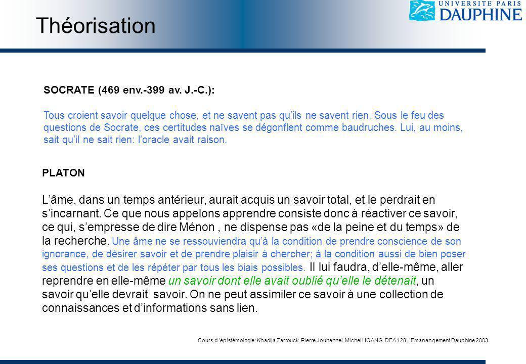 Cours d épistémologie: Khadija Zarrouck, Pierre Jouhannel, Michel HOANG DEA 128 - Emanangement Dauphine 2003 SOCRATE (469 env.-399 av.