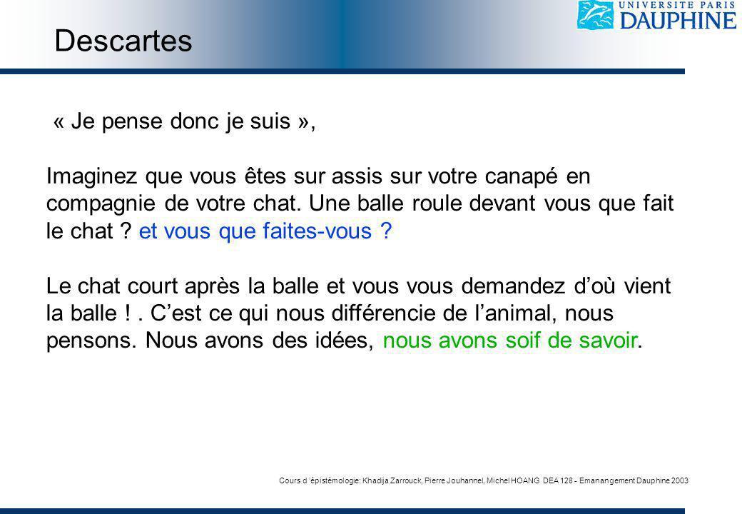 Cours d épistémologie: Khadija Zarrouck, Pierre Jouhannel, Michel HOANG DEA 128 - Emanangement Dauphine 2003 « Je pense donc je suis », Imaginez que v