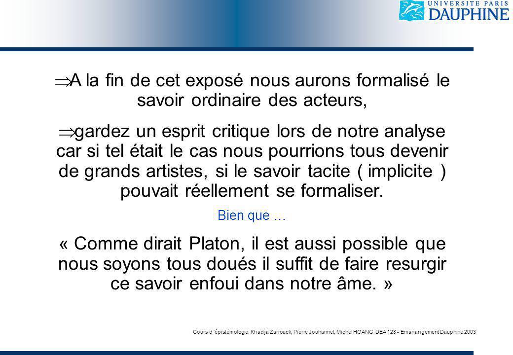 Cours d épistémologie: Khadija Zarrouck, Pierre Jouhannel, Michel HOANG DEA 128 - Emanangement Dauphine 2003 A la fin de cet exposé nous aurons formal