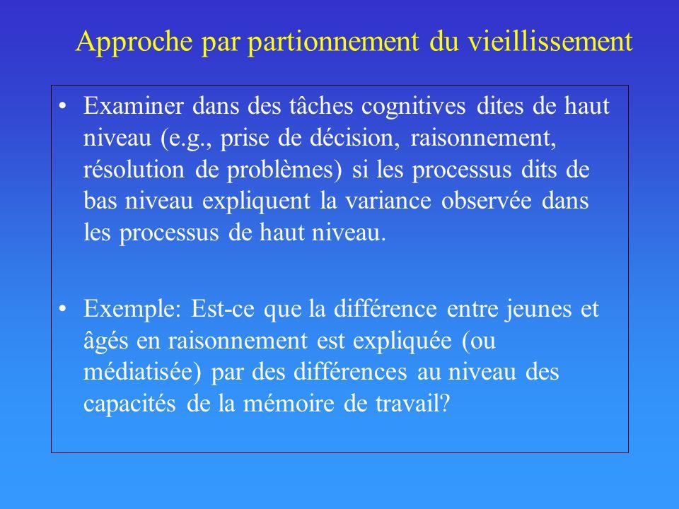 Approche par partionnement du vieillissement Examiner dans des tâches cognitives dites de haut niveau (e.g., prise de décision, raisonnement, résolution de problèmes) si les processus dits de bas niveau expliquent la variance observée dans les processus de haut niveau.