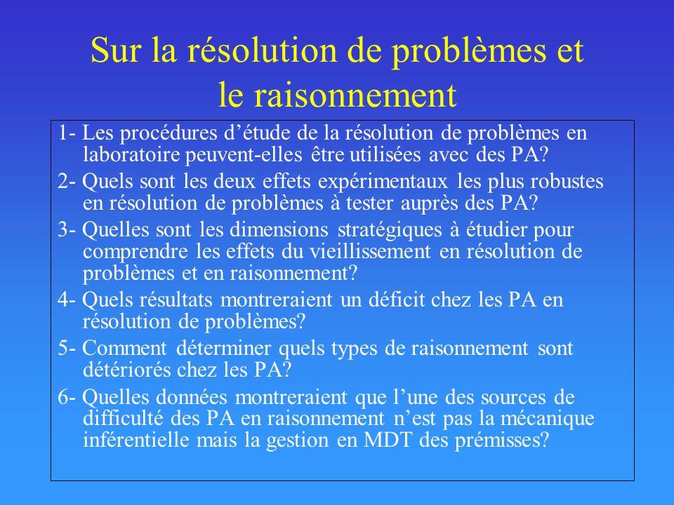 Sur la résolution de problèmes et le raisonnement 1- Les procédures détude de la résolution de problèmes en laboratoire peuvent-elles être utilisées a
