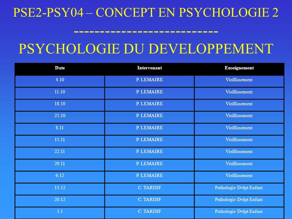 PSE2-PSY04 – CONCEPT EN PSYCHOLOGIE 2 --------------------------- PSYCHOLOGIE DU DEVELOPPEMENT DateIntervenantEnseignement 4.10P. LEMAIREVieillissemen