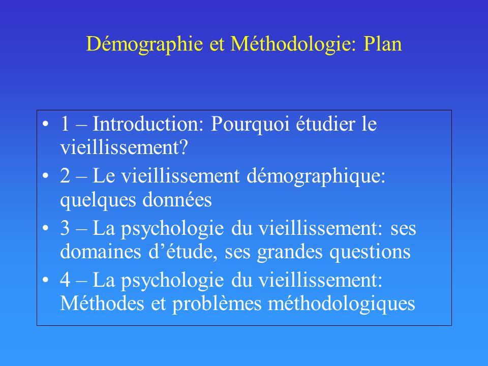Démographie et Méthodologie: Plan 1 – Introduction: Pourquoi étudier le vieillissement? 2 – Le vieillissement démographique: quelques données 3 – La p