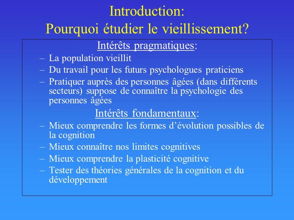Introduction: Pourquoi étudier le vieillissement? Intérêts pragmatiques: –La population vieillit –Du travail pour les futurs psychologues praticiens –