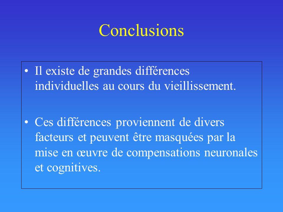 Conclusions Il existe de grandes différences individuelles au cours du vieillissement. Ces différences proviennent de divers facteurs et peuvent être