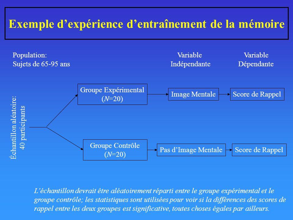 Exemple dexpérience dentraînement de la mémoire Groupe Expérimental (N=20) Groupe Contrôle (N=20) Image Mentale Pas dImage Mentale Score de Rappel Variable Indépendante Variable Dépendante Échantillon aléatoire: 40 participants Population: Sujets de 65-95 ans Léchantillon devrait être aléatoirement réparti entre le groupe expérimental et le groupe contrôle; les statistiques sont utilisées pour voir si la différences des scores de rappel entre les deux groupes est significative, toutes choses égales par ailleurs.