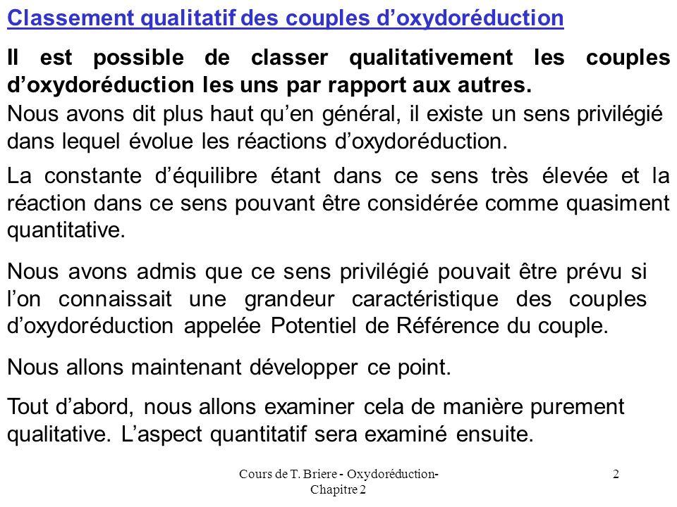 Cours de T. Briere - Oxydoréduction- Chapitre 2 1 Walther Nernst E = E 0 + (RT/nF) ln [Ox]/[Red] OXYDOREDUCTION DEUXIEME PARTIE ASPECT QUANTITATIF