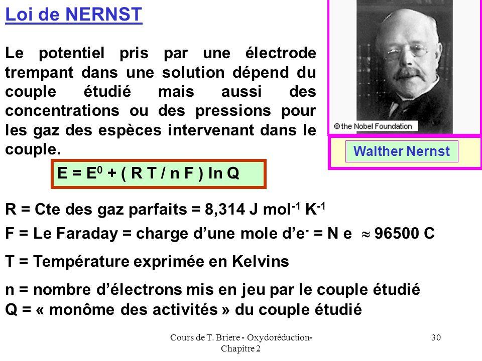 Cours de T. Briere - Oxydoréduction- Chapitre 2 29 Le Potentiel délectrode Il est donc possible dattribuer un potentiel à une électrode trempant dans