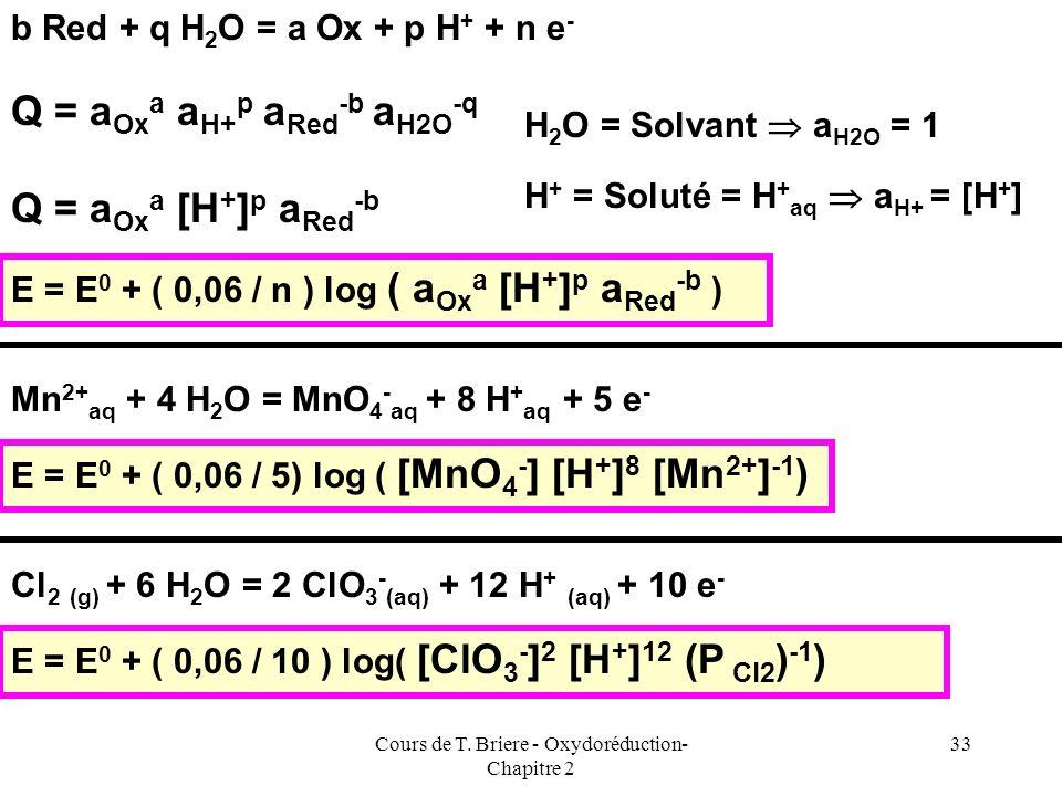 Cours de T. Briere - Oxydoréduction- Chapitre 2 32 On utilise généralement la loi de Nernst sous une forme légèrement différente. On suppose que la te