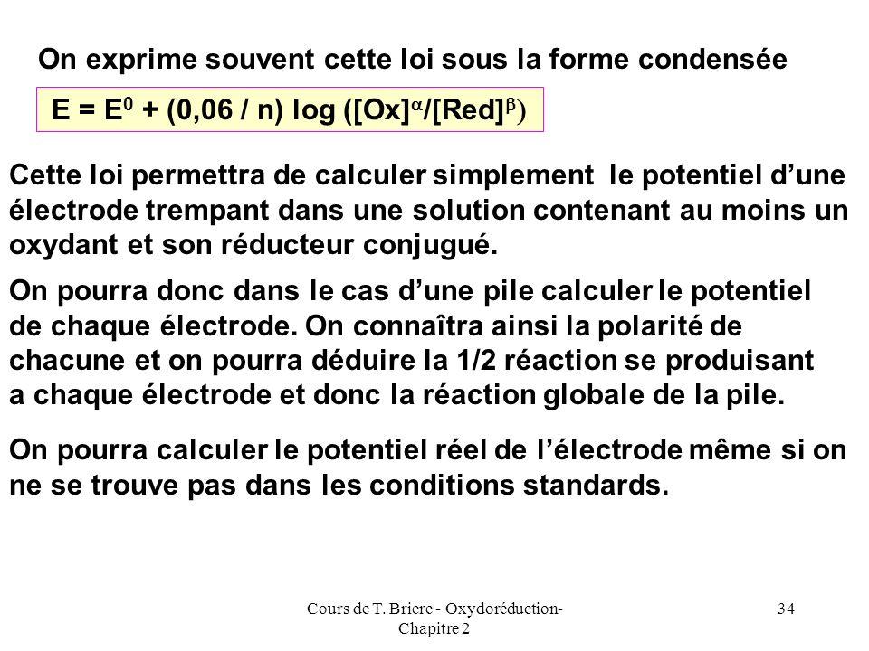Cours de T. Briere - Oxydoréduction- Chapitre 2 33 Mn 2+ aq + 4 H 2 O = MnO 4 - aq + 8 H + aq + 5 e - b Red + q H 2 O = a Ox + p H + + n e - Q = a Ox