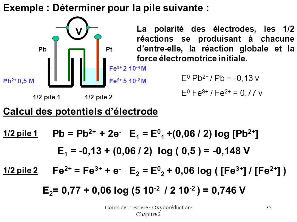 Cours de T. Briere - Oxydoréduction- Chapitre 2 34 On exprime souvent cette loi sous la forme condensée E = E 0 + (0,06 / n) log ([Ox] /[Red] Cette lo