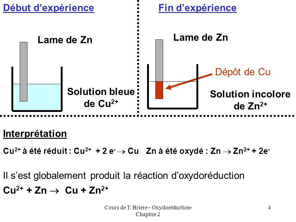 Cours de T. Briere - Oxydoréduction- Chapitre 2 3 Exemple 1 Si on trempe une lame de Zinc dans une solution contenant lion Cuivre II (Cu 2+ ) on const
