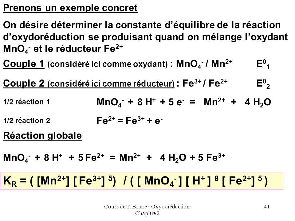 Cours de T. Briere - Oxydoréduction- Chapitre 2 40 Calculs des constantes déquilibre A léquilibre, nous venons de montrer que la f.e.m de la pile étai