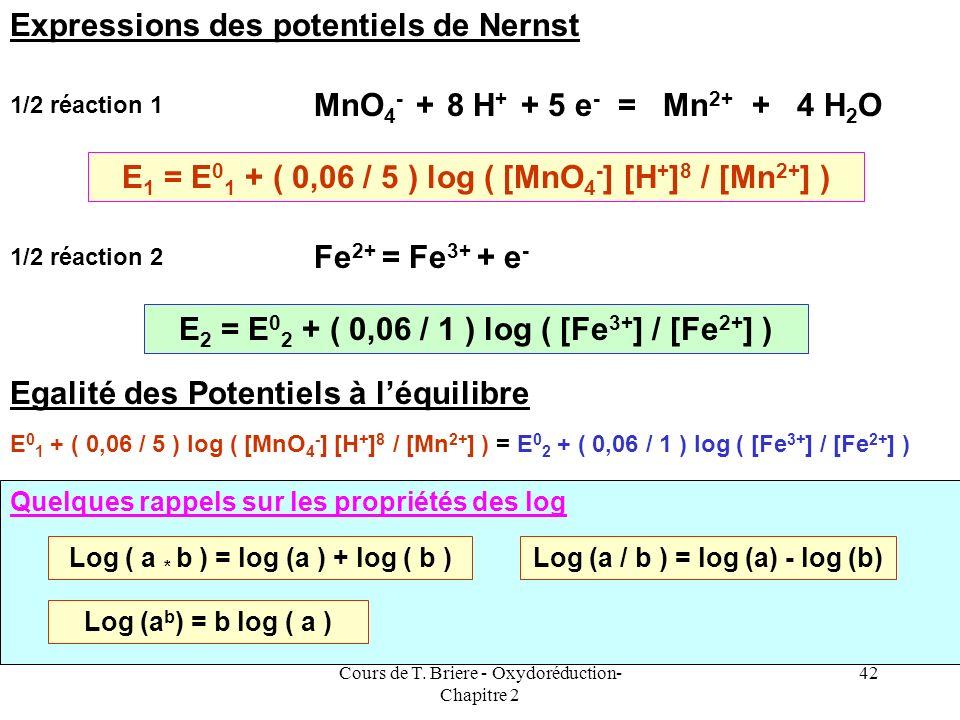Cours de T. Briere - Oxydoréduction- Chapitre 2 41 Prenons un exemple concret On désire déterminer la constante déquilibre de la réaction doxydoréduct