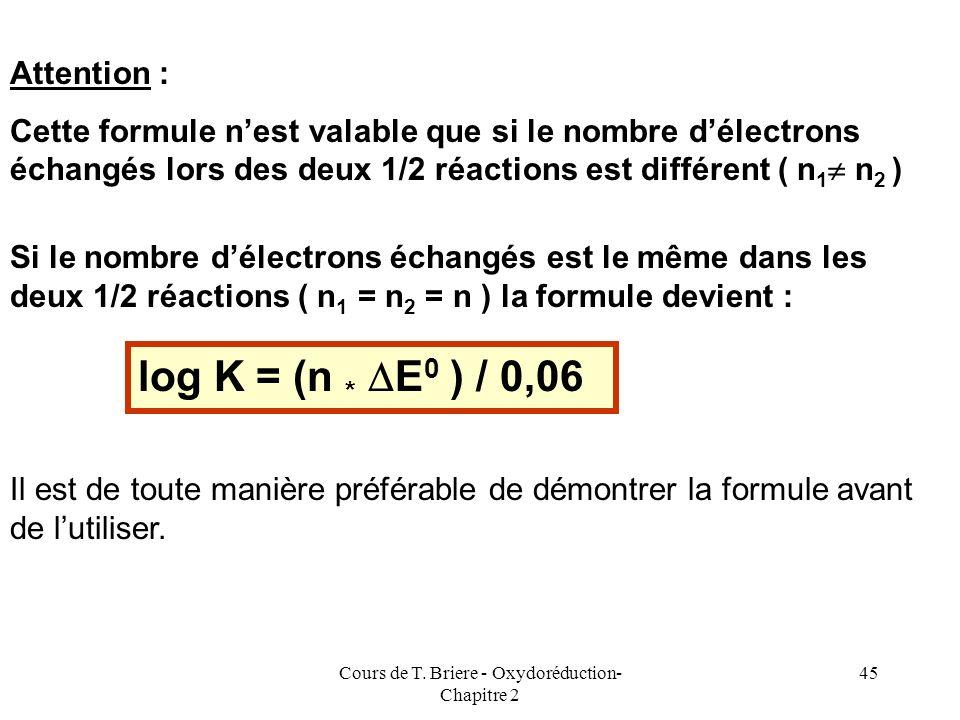 Cours de T. Briere - Oxydoréduction- Chapitre 2 44 La démonstration précédante est bien entendu généralisable à toute réaction doxydoréduction. On obt