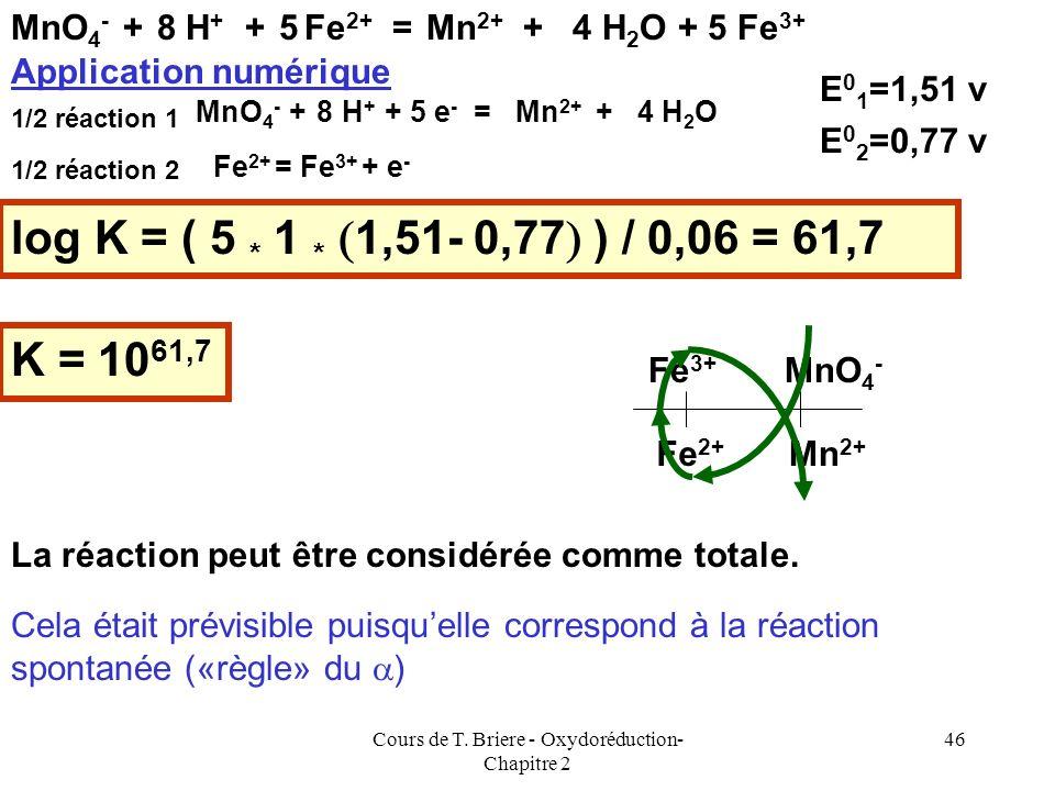 Cours de T. Briere - Oxydoréduction- Chapitre 2 45 Attention : Cette formule nest valable que si le nombre délectrons échangés lors des deux 1/2 réact