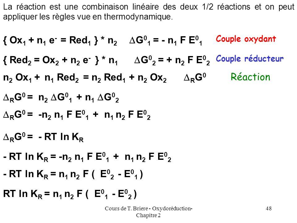 Cours de T. Briere - Oxydoréduction- Chapitre 2 47 Pour une demi-équation doxydo-réduction, on peut définir de manière formelle un G 0 de demi-réactio