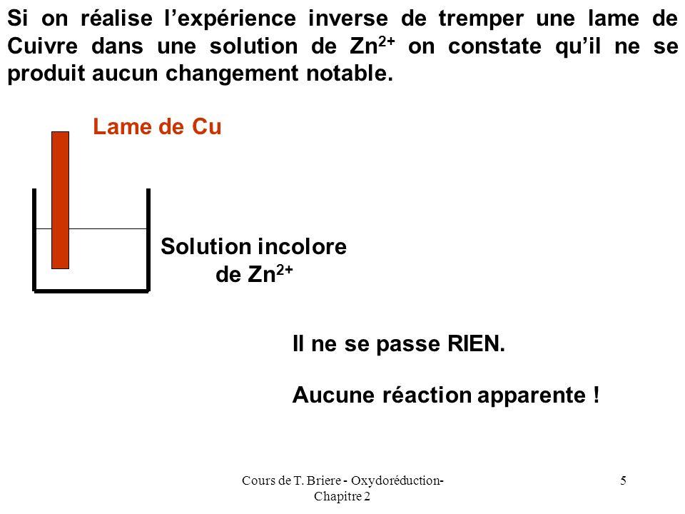 Cours de T. Briere - Oxydoréduction- Chapitre 2 4 Lame de Zn Solution bleue de Cu 2+ Solution incolore de Zn 2+ Dépôt de Cu Début dexpérienceFin dexpé