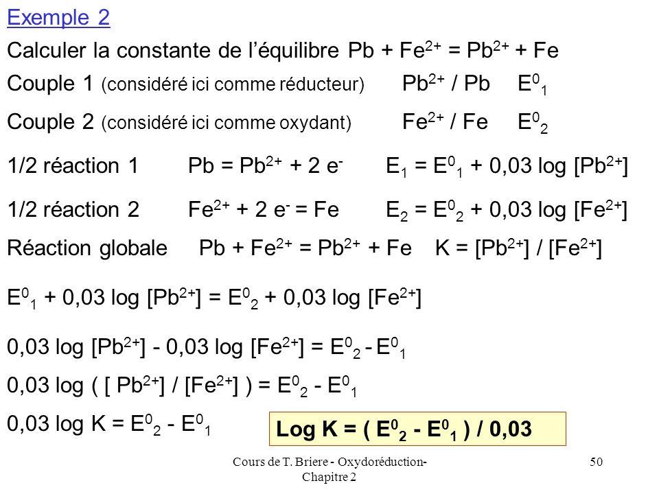 Cours de T. Briere - Oxydoréduction- Chapitre 2 49 2,3 RT log K R = n 1 n 2 F ( E 0 1 - E 0 2 ) log K R = n 1 n 2 ( E 0 1 - E 0 2 ) F / ( 2,3 RT) Avec