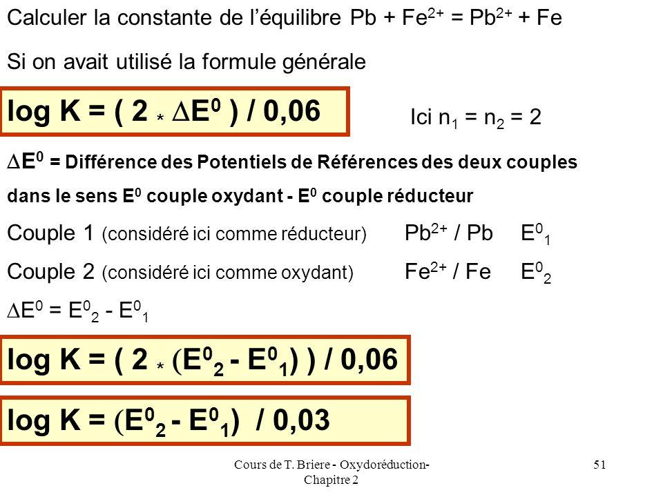 Cours de T. Briere - Oxydoréduction- Chapitre 2 50 Exemple 2 Calculer la constante de léquilibre Pb + Fe 2+ = Pb 2+ + Fe Couple 1 (considéré ici comme