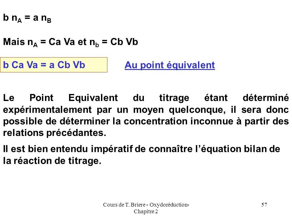 Cours de T. Briere - Oxydoréduction- Chapitre 2 56 Substance A Ca,Va Substance B Cb, Vb a A + b B = c C + d D Réaction de Titrage Point Equivalent = P