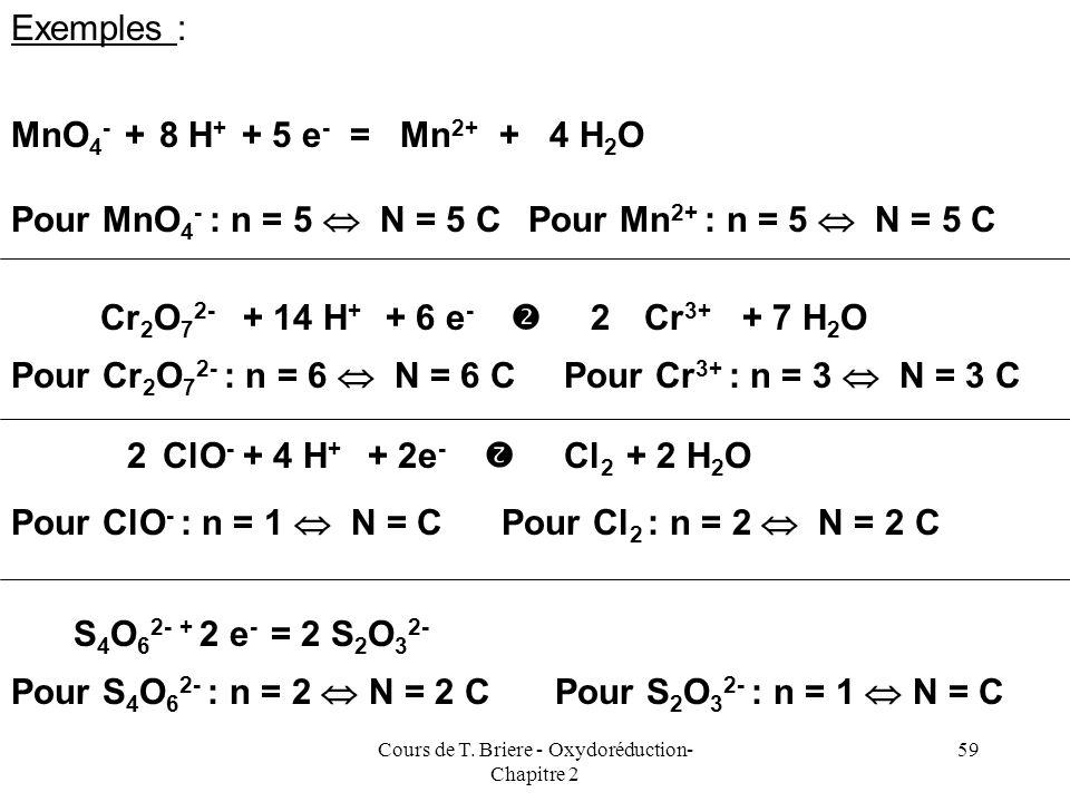 Cours de T. Briere - Oxydoréduction- Chapitre 2 58 Notion de Normalité On utilise parfois la notion de normalité pour simplifier les calculs lors des