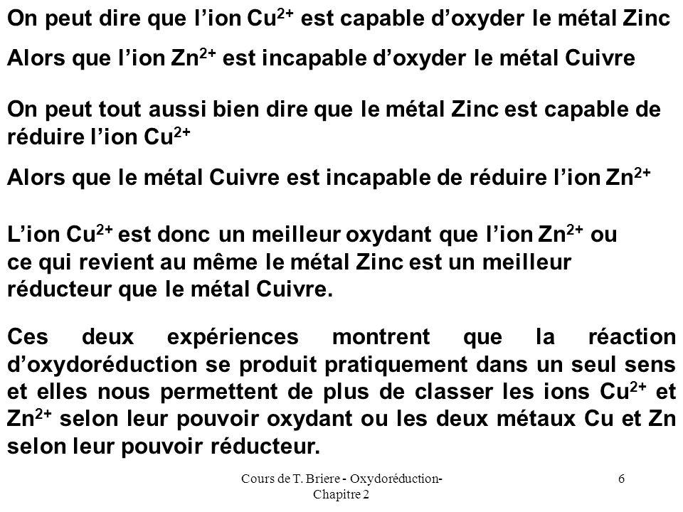 Cours de T. Briere - Oxydoréduction- Chapitre 2 5 Si on réalise lexpérience inverse de tremper une lame de Cuivre dans une solution de Zn 2+ on consta
