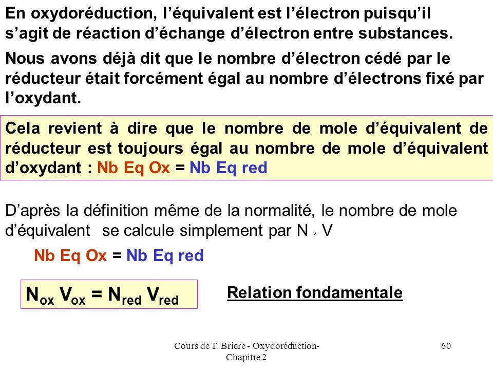 Cours de T. Briere - Oxydoréduction- Chapitre 2 59 Exemples : MnO 4 - + 8 H + + 5 e - = Mn 2+ + 4 H 2 O Cr 2 O 7 2- Cr 3+ 2+ 7 H 2 O+ 14 H + + 6 e - C