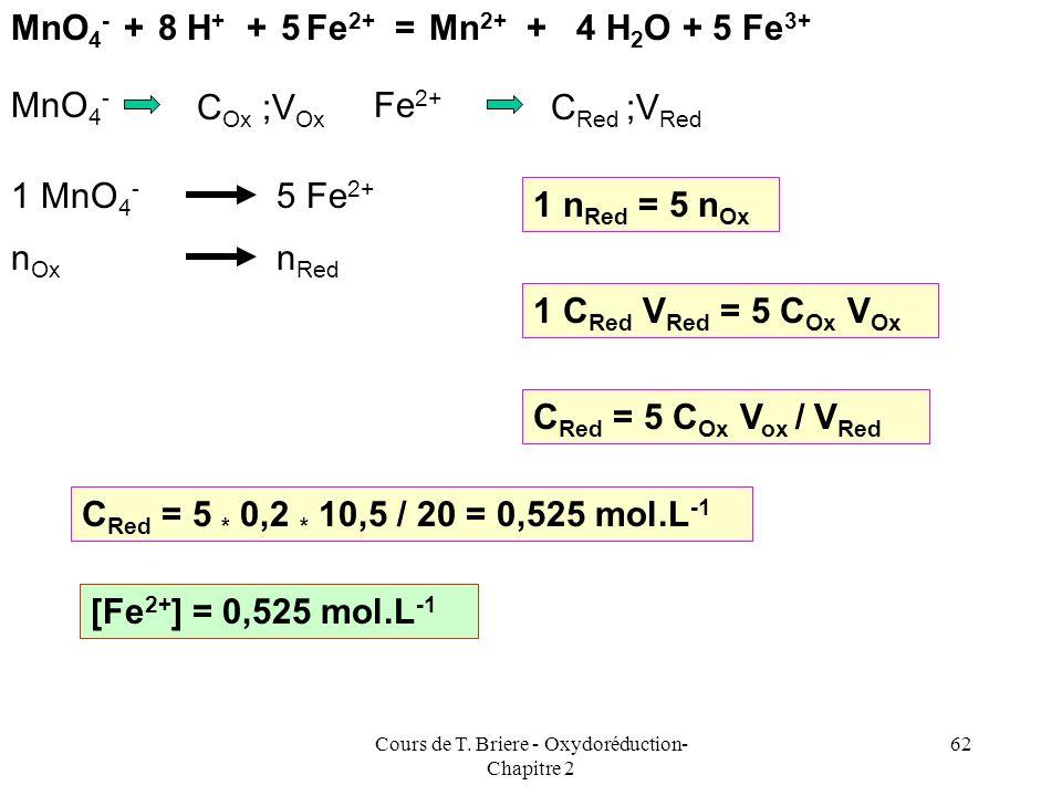 Cours de T. Briere - Oxydoréduction- Chapitre 2 61 Exemple dapplication On dose 20 ml de Sulfate de Fer (II) (FeSO 4 ) par une solution de Permanganat