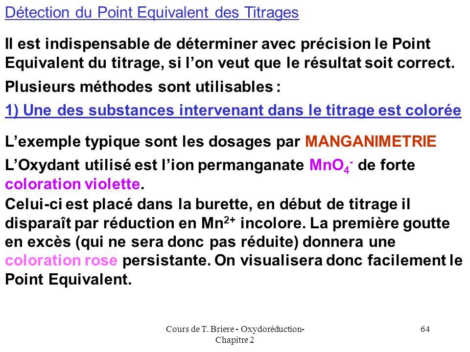 Cours de T. Briere - Oxydoréduction- Chapitre 2 63 Utilisation des normalités MnO 4 - + 8 H + + 5 e - = Mn 2+ + 4 H 2 O Fe 2+ = Fe 3+ + e - Pour MnO 4