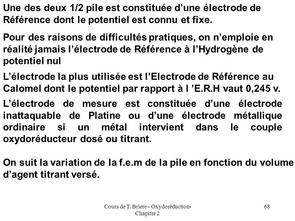 Cours de T. Briere - Oxydoréduction- Chapitre 2 67 Suivi Potentiométrique des Titrages Cette technique très importante consiste à suivre lévolution du