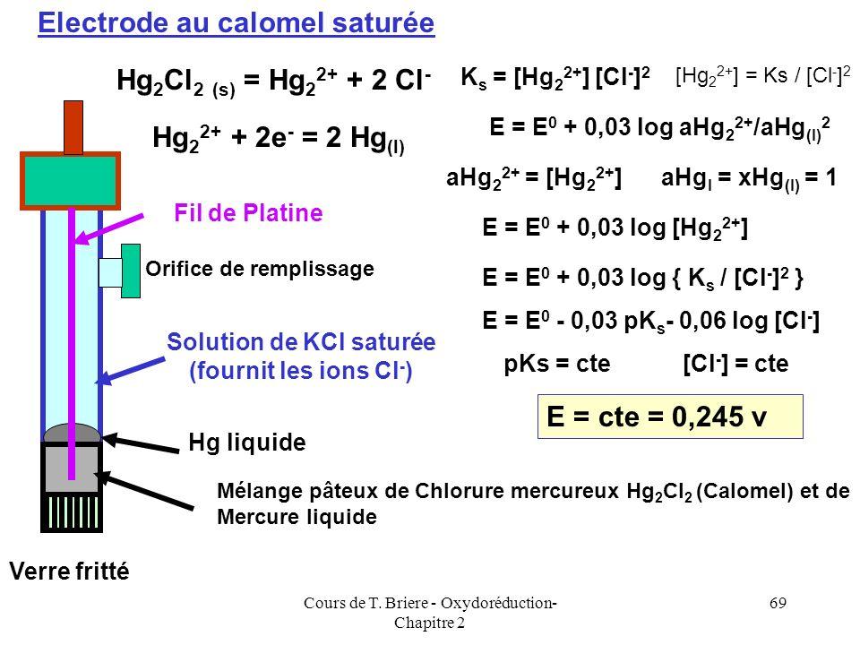 Cours de T. Briere - Oxydoréduction- Chapitre 2 68 Une des deux 1/2 pile est constituée dune électrode de Référence dont le potentiel est connu et fix