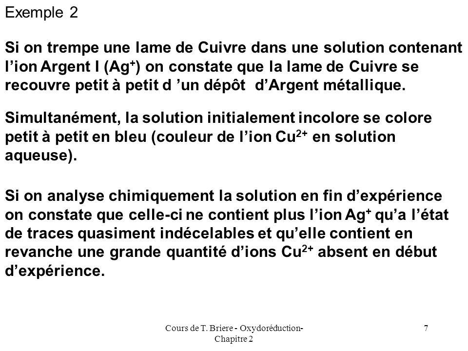 Cours de T. Briere - Oxydoréduction- Chapitre 2 6 On peut dire que lion Cu 2+ est capable doxyder le métal Zinc Alors que lion Zn 2+ est incapable dox