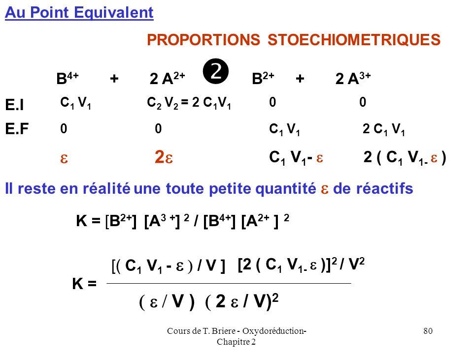 Cours de T. Briere - Oxydoréduction- Chapitre 2 79 E = E 0 2 + 0,06 log [A 3+ ] / [A 2+ ] [A 3+ ] = 2 C 1 V1 V1 / ( V 1 + V2 V2 + V H2O ) [A 2+ ] = (