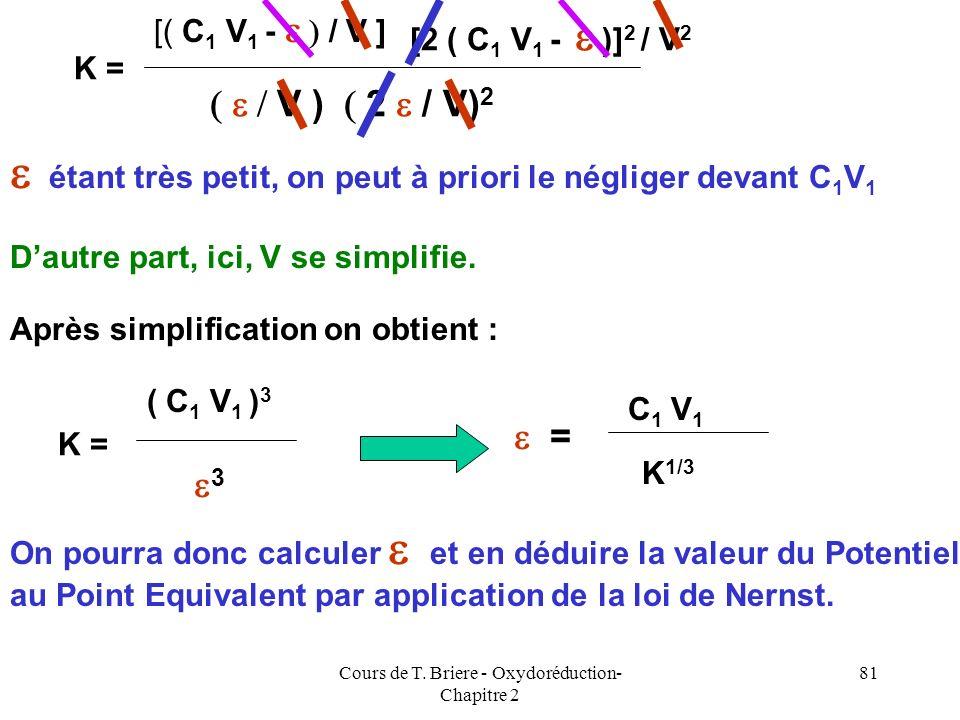 Cours de T. Briere - Oxydoréduction- Chapitre 2 80 Au Point Equivalent B 4+ + 2 A 2+ B 2+ + 2 A 3+ E.I E.F C 1 V 1 C 2 V 2 = 2 C 1 V 1 00 00C 1 V 1 2