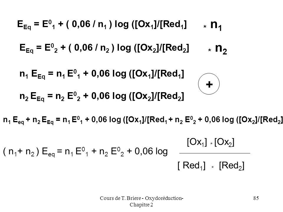 Cours de T. Briere - Oxydoréduction- Chapitre 2 84 Autre méthode de calcul de E eq Dans les cas simples tel que celui que nous venons de traiter, il e