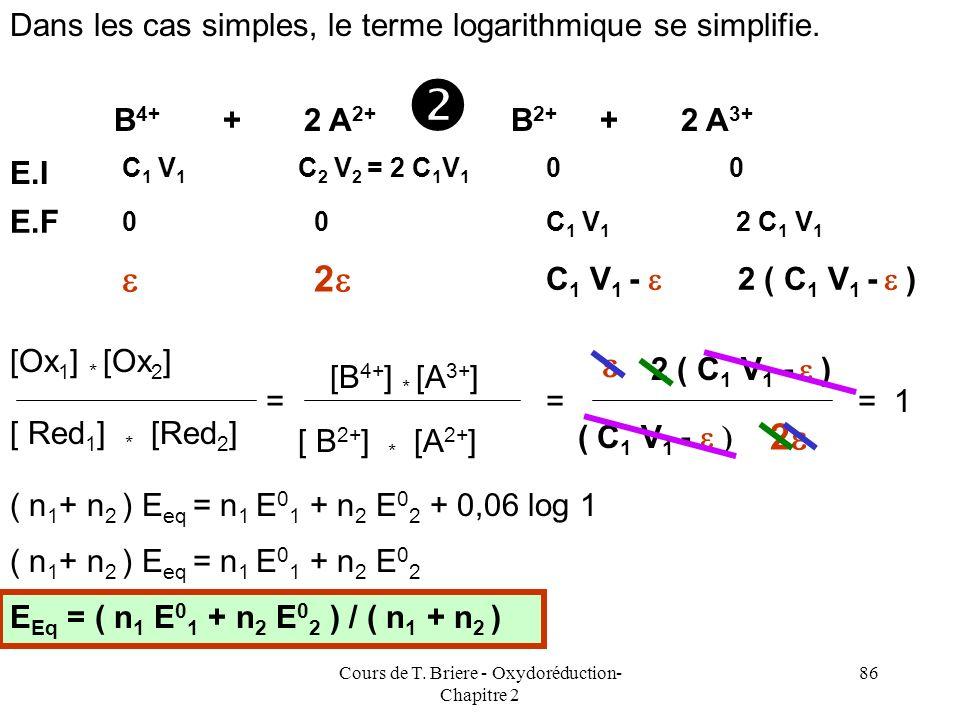 Cours de T. Briere - Oxydoréduction- Chapitre 2 85 E Eq = E 0 1 + ( 0,06 / n 1 ) log ([Ox 1 ]/[Red 1 ] E Eq = E 0 2 + ( 0,06 / n 2 ) log ([Ox 2 ]/[Red