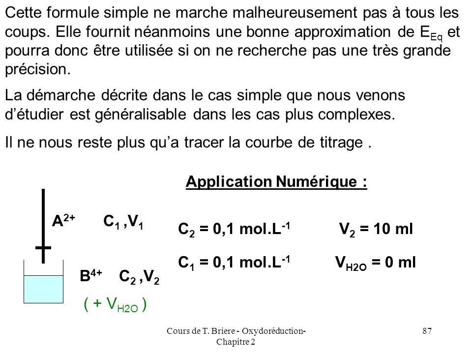 Cours de T. Briere - Oxydoréduction- Chapitre 2 86 Dans les cas simples, le terme logarithmique se simplifie. B 4+ + 2 A 2+ B 2+ + 2 A 3+ E.I E.F C 1