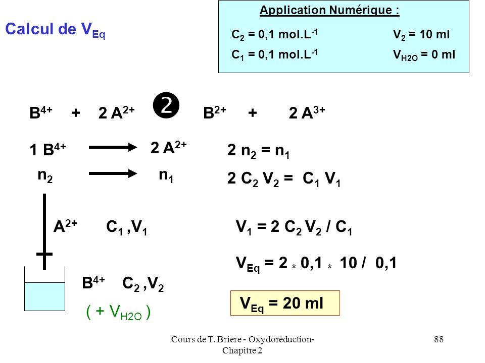 Cours de T. Briere - Oxydoréduction- Chapitre 2 87 Cette formule simple ne marche malheureusement pas à tous les coups. Elle fournit néanmoins une bon