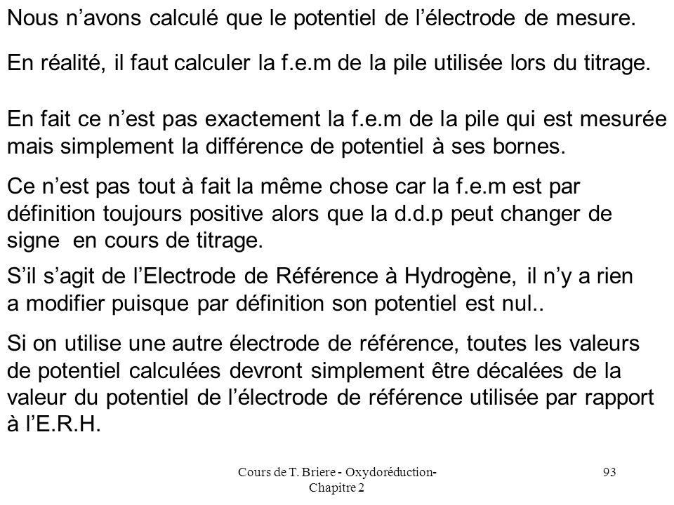 Cours de T. Briere - Oxydoréduction- Chapitre 2 92 Courbe de titrage -0,500 -0,400 -0,300 -0,200 -0,100 0,000 01020304050 Point equivalent V = 20 ml E